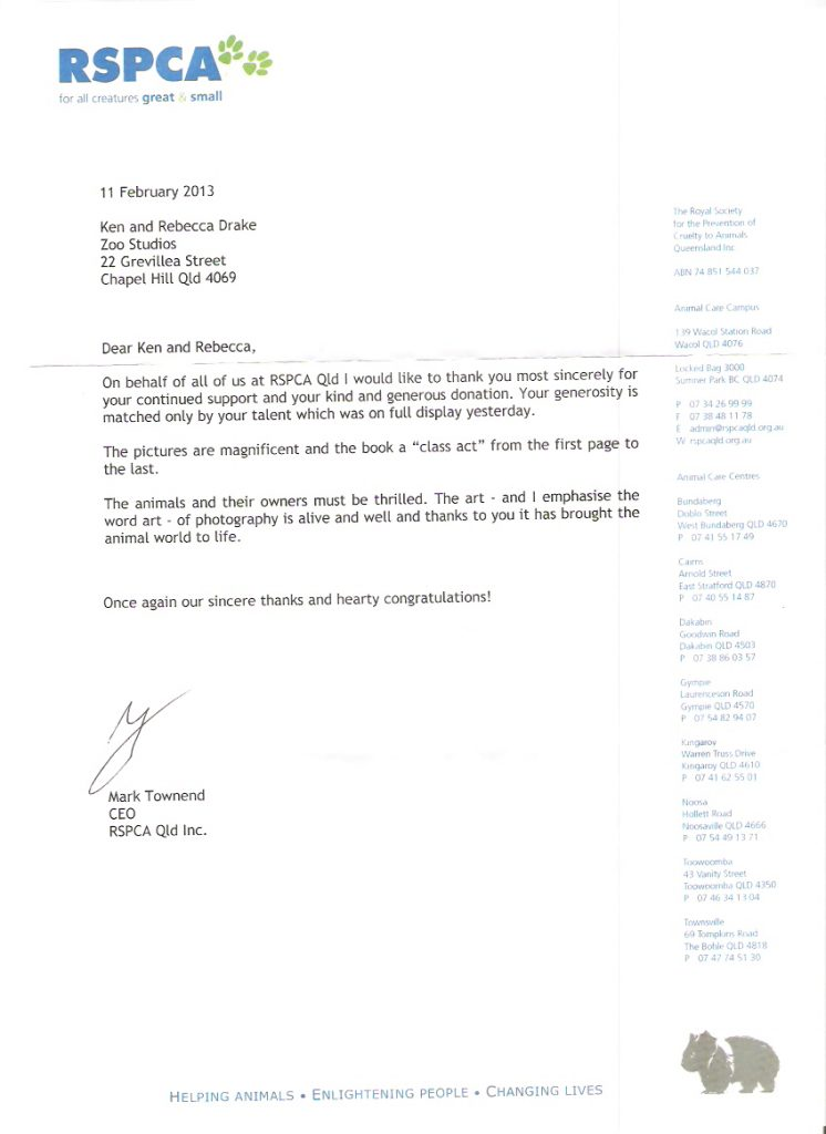 RSPCA QLD Letter